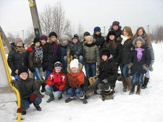Harcerze z Brzezinek na zimowym biwaku w Łącznej - luty 2012r.